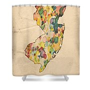 New Jersey Map Vintage Watercolor Shower Curtain