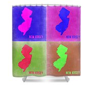 New Jersey Pop Art Map 2 Shower Curtain
