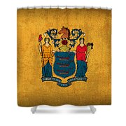 New Jersey State Flag Art On Worn Canvas Shower Curtain