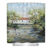 New Jersey's Last Covered Bridge Shower Curtain by Katalin Luczay