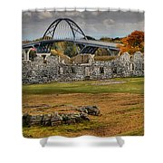 New Lake Champlain Bridge Over Fort Crown Point Panorama Shower Curtain
