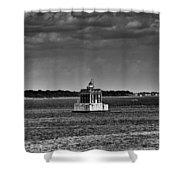 New London Shelf Light Black And White Shower Curtain