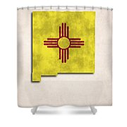 New Mexico Map Art With Flag Design Shower Curtain by World Art Prints And Designs