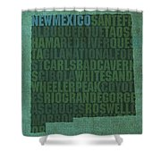 New Mexico Word Art State Map On Canvas Shower Curtain