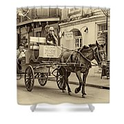 New Orleans - Carriage Ride Sepia Shower Curtain