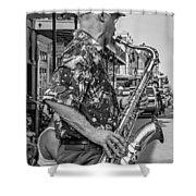New Orleans Jazz Sax Bw Shower Curtain
