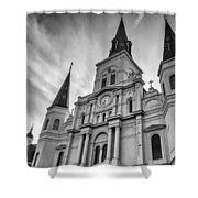 New Orleans St Louis Cathedral Bw Shower Curtain