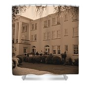 New Perry Hotel In Sepia Shower Curtain
