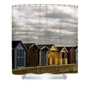 Colourful Wooden English Seaside Beach Huts Shower Curtain