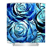 Pop Art Blue Roses Shower Curtain