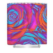 Pop Art Pink Neon Roses Shower Curtain