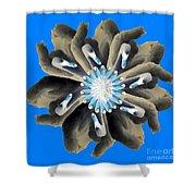 New Photographic Art Print For Sale Pop Art Swan Flower On Blue Shower Curtain