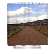 Red Road From The Benedictine Abbey Of Christ In The Desert New Mexico  Shower Curtain