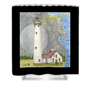 New Presque Isle Lighthouse Mi Nautical Chart Map Art Shower Curtain