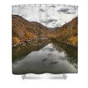 New River Fall Reflections Shower Curtain