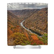New River Gorge Overlook Fall Foliage Shower Curtain