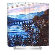 New River Trestle In Fall Shower Curtain