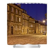 New Town Street And Houses At Night In Warsaw Shower Curtain