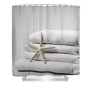 New White Towels Shower Curtain by Amanda Elwell