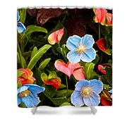 New World And Old World Exotic Flowers Shower Curtain