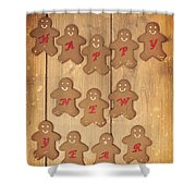 New Year Gingerbread Shower Curtain