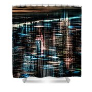 New York - The Night Awakes - Dark Shower Curtain by Hannes Cmarits