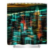 New York - The Night Awakes - Green Shower Curtain
