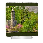 New York At Gettysburg - Monument To 12th / 44th Ny Infantry Regiments-1a Little Round Top Spring Shower Curtain by Michael Mazaika