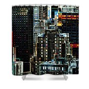 New York At Night - Skyscrapers And Office Windows Shower Curtain