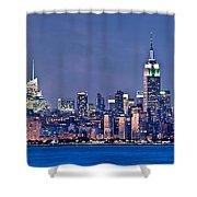 New York Blue Hour Panorama Shower Curtain