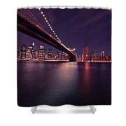 New York Brooklyn Bridge At Night Shower Curtain
