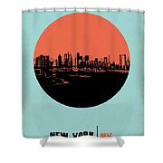 New York Circle Poster 2 Shower Curtain