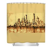 New York City Skyline 79 - Water Color Panorama Shower Curtain