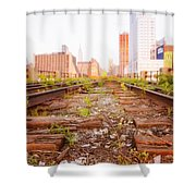 New York City - Abandoned Railroad Tracks Shower Curtain