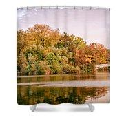 New York City - Autumn - Central Park - Lake And Bow Bridge Shower Curtain