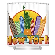 New York City Colorful Skyline In Circle Illustration Shower Curtain