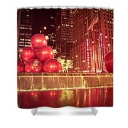 New York City Holiday Decorations Shower Curtain