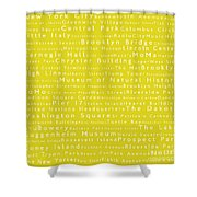 New York City In Words Yellow Shower Curtain by Sabine Jacobs