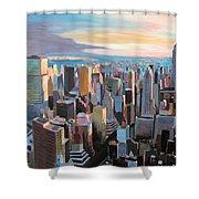 New York City - Manhattan Skyline In Warm Sunlight Shower Curtain