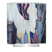 New York City - Manhattan Stars And Stripes Shower Curtain