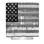 New York City On American Flag Black And White Shower Curtain