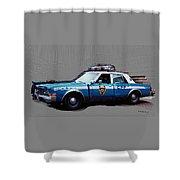 Vintage New York City Police Car 1980s Shower Curtain