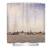 New York City Skyline And The Hudson River Shower Curtain