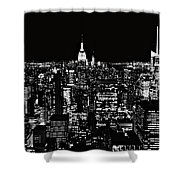 New York City Skyline At Night Shower Curtain