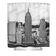 New York City Skyline - Lego Shower Curtain by Edward Fielding