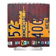 New York City Skyline License Plate Art 911 Twin Towers Statue Of Liberty Shower Curtain