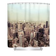 New York City - Skyline On A Hazy Evening Shower Curtain by Vivienne Gucwa