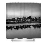New York City Skyline Stillness Bw Shower Curtain