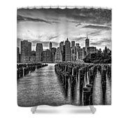 New York City Skyline Sunset Hues Bw Shower Curtain