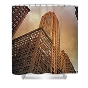 New York City - Skyscraper And Storm Clouds Shower Curtain
